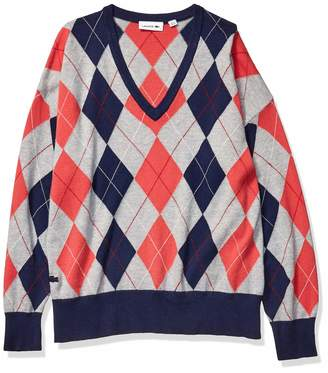 Lacoste Womens Long Sleeve Jersey Argyle Sweater Sweater