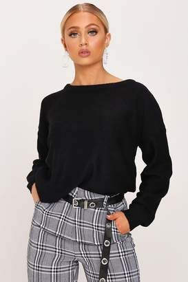 I SAW IT FIRST Black Scoop Neck Knitted Jumper