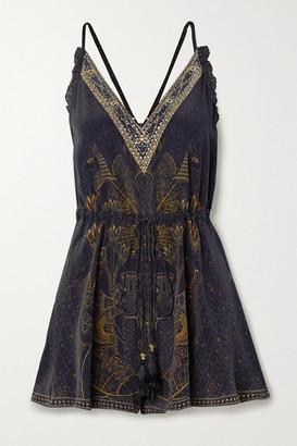 Camilla Embellished Silk Crepe De Chine Playsuit - Black