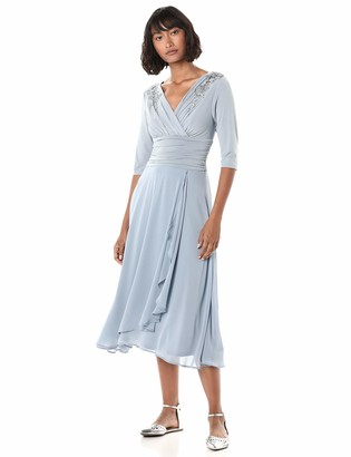 Sangria Women's Draped Chiffon 3/4 Sleeve Dress