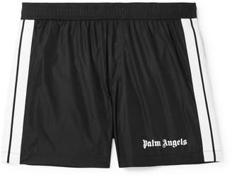 Palm Angels Slim-Fit Short-Length Striped Logo-Print Swim Shorts