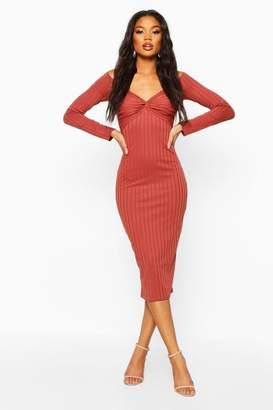 boohoo Ribbed Off The Shoulder Twist Midi Dress
