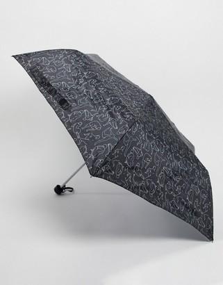 Monki lady print umbrella in black