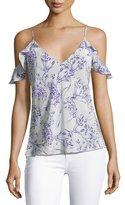 Amanda Uprichard Aliyah Floral Print Cold-Shoulder Camisole Top, White/Purple