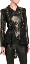 Alexander McQueen High-Low Lace Peplum Leather Moto Jacket