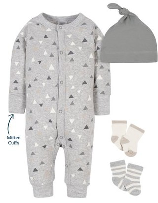 Modern Moments by Gerber Baby Boy Coverall, Cap, and Socks Set, 4-Piece