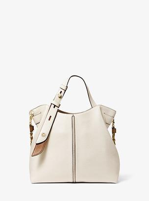 MICHAEL Michael Kors MK Downtown Astor Small Pebbled Leather Shoulder Bag - Lt Crm/lugg - Michael Kors