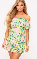 PrettyLittleThing Pink Tropical Print Bardot Swing Dress