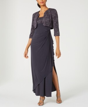 Alex Evenings Draped Gown & Glitter Bolero Jacket