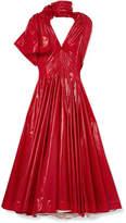 Calvin Klein Bow-detailed Vinyl Midi Dress - Red