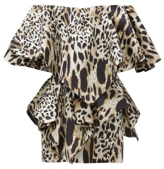 Alexandre Vauthier Off-the-shoulder Lynx-print Silk Mini Dress - Womens - Leopard