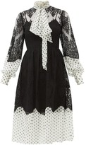 Erdem Medina Tie-neck Lace And Polka-dot Georgette Dress - Womens - White Black