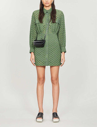 Sandro Shera embroidered cotton mini dress