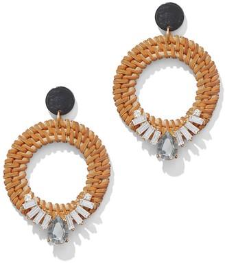 New York & Co. Basket-Weave Hoop Drop Earring