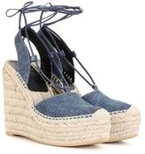 Saint Laurent Denim Espadrille Wedge Sandals
