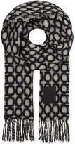 Loewe Mens Black&White Woven Luxurious Geometric Wool-Mohair Scarf