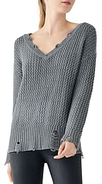 DL1961 Freeman Alley Distressed V-Neck Sweater
