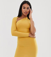 Club L London Petite one sleeve bodycon dress in yellow