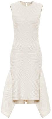 Alexander McQueen Stretch wool-blend asymmetric midi dress