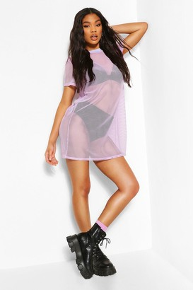 boohoo Fish Net T-Shirt Dress