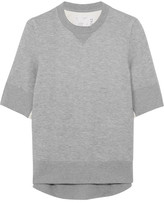 Sacai Poplin-paneled Cotton-blend Jersey Sweatshirt - Light gray