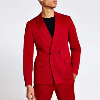 River Island Mens Red double breasted skinny suit jacket