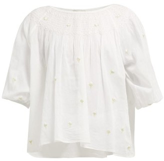 Mes Demoiselles Bourgeon Floral-embroidered Cotton Blouse - Ivory
