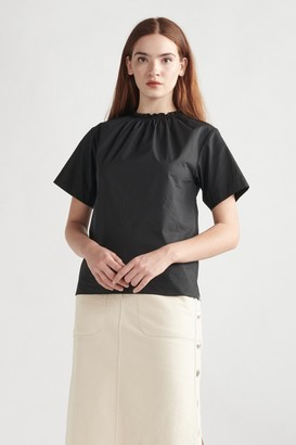 Thakoon Smocked Neck Tee Black