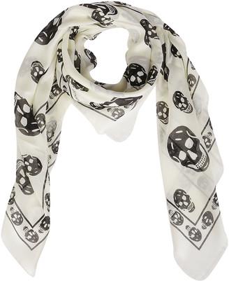 Alexander McQueen White Modal-silk Blend Scarf