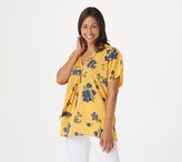 Laurie Felt V-Neck Printed Woven and Knit Scarf Blouse