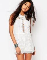 Boohoo Boutique High Neck Crochet Romper