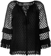 Tory Burch embroidered tasseled blouse - women - Silk/Polyester/Viscose - 0