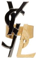 Saint Laurent Black & Gold Monogram Deconstructed Ring