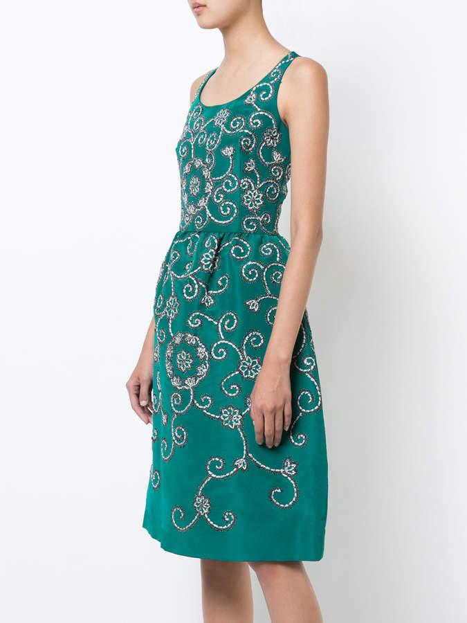 Oscar de la Renta gathered waist swirl dress