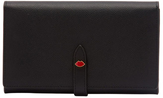 Lulu Guinness Black/Red Lip Pin Juno Wallet