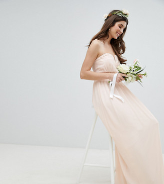 TFNC Bandeau Maxi Bridesmaid Dress-Pink