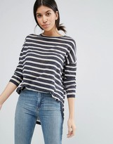 Vero Moda Boxy Striped Top with Rounded Hem