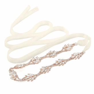 SWEETV Rose Gold Bridal Belt Rhinestone Wedding Belt Crystal Sash Ribbon for Bridesmaid Dress Evening Gown