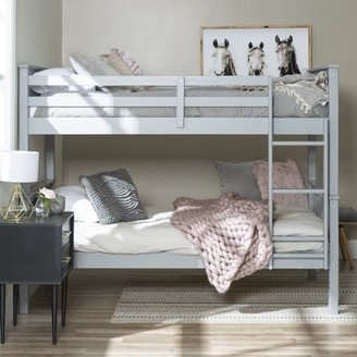 Manor Park Solid Wood Twin over Twin Convertible Mission Design Bunk Bed - Grey