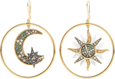 Roberto Cavalli Sun and Moon embellished hoop earrings