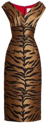 Carolina Herrera Tiger-jacquard Midi Dress - Womens - Brown Multi