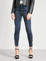 Good American Good Waist lace-up detail skinny high-rise jeans