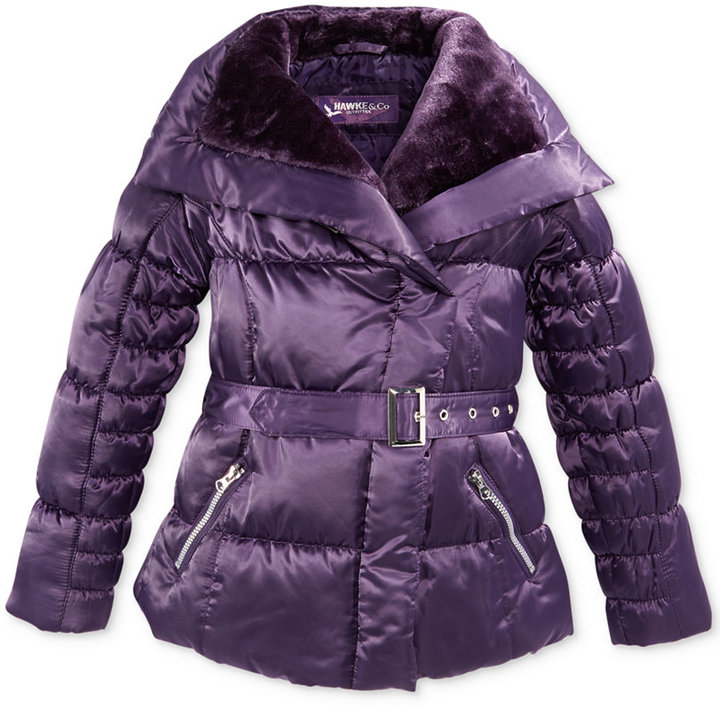 Hawke & Co Kids Coat, Girls Belted Satin Jacket with Oversized Faux-Fur Collar