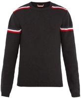 Moncler Crew-neck Stripe-intarsia Wool Sweater