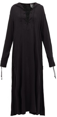 Ann Demeulemeester Tie-front Voile Maxi Dress - Womens - Black
