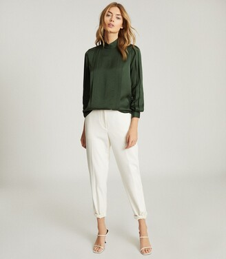 Reiss Sarah - High Neck Blouse in Green