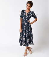 Anama 1940s Style Blue & Pink Floral Keyhole Crepe Sleeved Dress