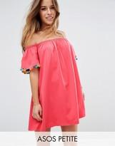 Asos Off Shoulder Swing Sundress With Bright Pom Poms