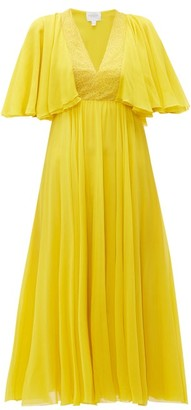Giambattista Valli Butterfly-sleeve Silk-chiffon Midi Dress - Womens - Yellow