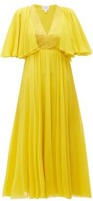Giambattista Valli Butterfly-sleeve Silk-chiffon Midi Dress - Yellow